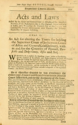 Acts and Laws, May 30, 1733-January 24, 1734, pp. 509-510. Massachusetts Colony Session Laws