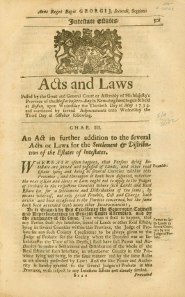 Acts and Laws, May 30-October 3, 1733, Massachusetts Colony Session Laws