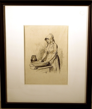 "Pen-and-ink Drawing, captioned ""Caleb's courtship / Eunice Stout"", signed (""A.B. Frost"")"
