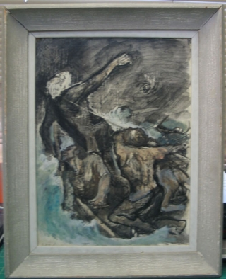 "Original gouache of ""Caught in the Line"" from Herman Melville's Moby Dick, published by the..."