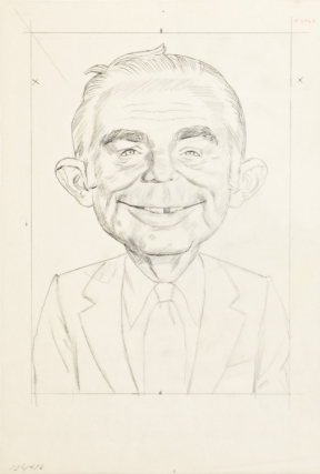 """ORIGINAL PRELIMINARY PENCIL TISSUE FOR """"MAD MAGAZINE"""" PAINTING OF ALFRED E. NEUMAN"""