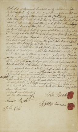 Manuscript Document, Covenant between John Bedell and his mother-in-law, Helethay Simonson, to share profits and expenses of jointly owned property on Staten Island. Staten Island.