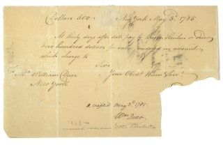 Manuscript Document, bank draft on the Bank of New York for $500 to the order of BARON STEUBEN, docketed on rear by Steuben. Baron Steuben.