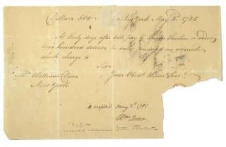 Manuscript Document, bank draft on the Bank of New York for $500 to the order of BARON STEUBEN, docketed on rear by Steuben