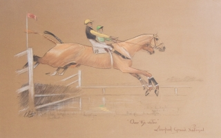 "An attractive pastel ""'Over the water' - Liverpool Grand National"", signed and titled by the artist"