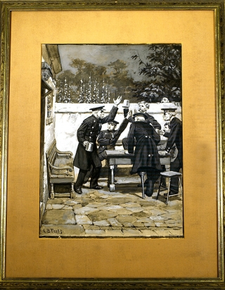 FINE GOUACHE ILLUSTRATION OF FRENCH MILITARY VETERANS DRINKING IN A TAVERN COURTYARD, SIGNED. A....