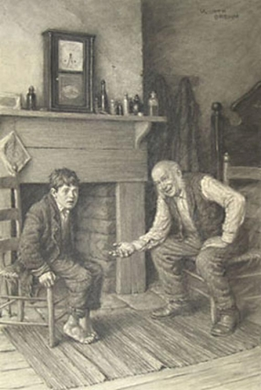 "FINE ORIGINAL CHARCOAL DRAWING, ""MY BOY, DON'T BE AFRAID OF ME"", FROM THE ADVENTURES OF TOM..."