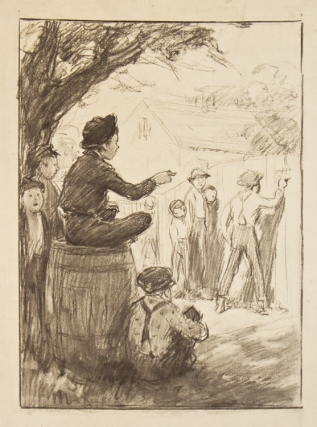 Preliminary drawing for illustration to The Adventures of Tom Sawyer