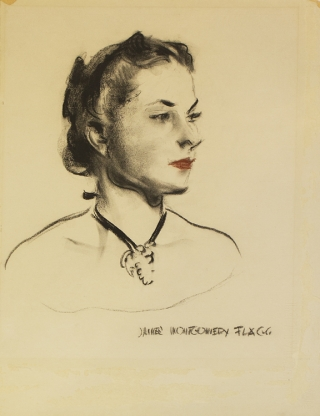 """A FINE BLACK AND RED CHARCOAL RENDERING OF THE HEAD AND SHOULDERS OF A YOUNG WOMAN, signed """"James Montgomery Flagg"""" at lower right"""