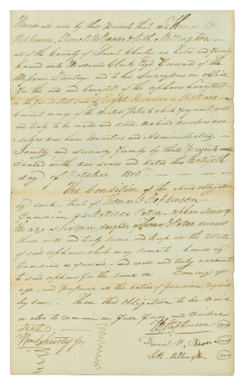 """Together, three documents signed by Daniel Boone's sons: Manuscript Document, signed by Daniel M. Boone with two lines in his hand, 2 pp., 8vo, dated November 14, 1817 and July 5, 1819, being a document filed with the County of St. Charles listing a tally of debts for items purchased from Boone (his name appears as """"Boon"""" within the document) accrued by Francis McDermed between June 1814 and March 1815, sworn to by Boone's clerk, John Lindsey, before Joseph Cotts, a lawyer. On the latter date, Boone acknowledges receipt of the payment in full from Hugh McDermed and signs the receipt; [and] Autograph Document, signed by Nathan Boone, 1 1/2 pages, written on a large scrap of paper, dated September 8, 1827, being a document filed with the St. Charles County probate court requesting the Mrs. Antoine Laclane and Frances Laclane, administrators of the estate of Antoine Laclane, pay an unspecified amount to Robert W. Wells as agent for Nathan Boone (his name appears as """"Boon"""" at the top of the document); on verso, opposite Boone's calculations and filing information is a half-page of writing in the hand of W. L. Mill, agent for Robert W. Wells, acknowledging receipt of the sum of forty-two dollars and ninety-two and one half cents which settles the judgement filed with the court on March 14, 1826; [and] Manuscript Document, signed by Daniel M. Boone, 1 1/4 pages, folio, dated October 30, 1876, being a Guardian Bond, an obligation between Boone, Thomas D. Stephenson, and Seth Millington that they are bound to perform the duties of guardians for the $800 estate of Mattilda Patton, an orphan for whom Stephenson is legal guardian"""