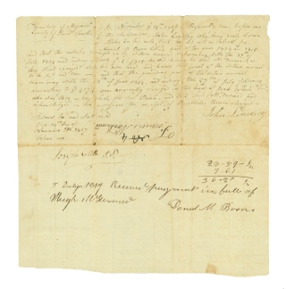 "Together, three documents signed by Daniel Boone's sons: Manuscript Document, signed by Daniel M. Boone with two lines in his hand, 2 pp., 8vo, dated November 14, 1817 and July 5, 1819, being a document filed with the County of St. Charles listing a tally of debts for items purchased from Boone (his name appears as ""Boon"" within the document) accrued by Francis McDermed between June 1814 and March 1815, sworn to by Boone's clerk, John Lindsey, before Joseph Cotts, a lawyer. On the latter date, Boone acknowledges receipt of the payment in full from Hugh McDermed and signs the receipt; [and] Autograph Document, signed by Nathan Boone, 1 1/2 pages, written on a large scrap of paper, dated September 8, 1827, being a document filed with the St. Charles County probate court requesting the Mrs. Antoine Laclane and Frances Laclane, administrators of the estate of Antoine Laclane, pay an unspecified amount to Robert W. Wells as agent for Nathan Boone (his name appears as ""Boon"" at the top of the document); on verso, opposite Boone's calculations and filing information is a half-page of writing in the hand of W. L. Mill, agent for Robert W. Wells, acknowledging receipt of the sum of forty-two dollars and ninety-two and one half cents which settles the judgement filed with the court on March 14, 1826; [and] Manuscript Document, signed by Daniel M. Boone, 1 1/4 pages, folio, dated October 30, 1876, being a Guardian Bond, an obligation between Boone, Thomas D. Stephenson, and Seth Millington that they are bound to perform the duties of guardians for the $800 estate of Mattilda Patton, an orphan for whom Stephenson is legal guardian"