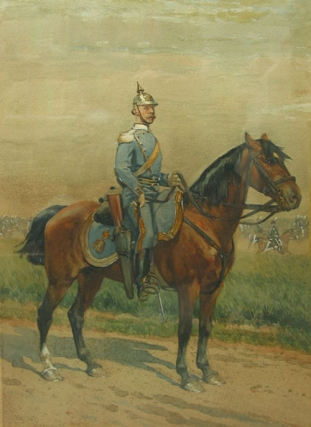 Original watercolor-on-paper of a Swedish Hussar, signed and dated at lower left and label...