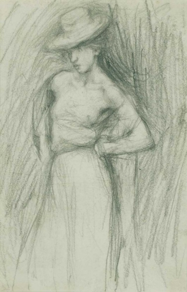 A Saucy Young Woman in a Hat, black chalk on paper