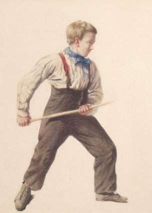 Young boy with blue kerchief and stick