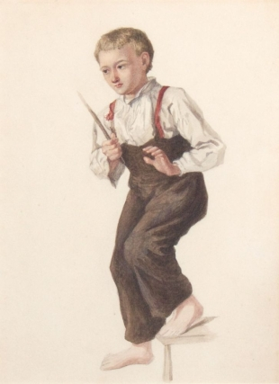 Young boy, barefoot, with stick on stair. Full Figure. Artist unknown