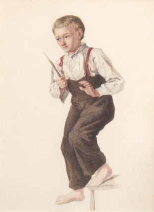 Young boy, barefoot, with stick on stair. Full Figure