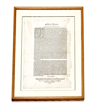 By the Queene. A Proclamation for the dearth of Corne. Broadside, Queen of England Elizabeth I.