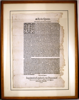 By the Queene. A Proclamation for the dearth of Corne