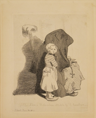 """A nun and a small peasant girl"" entitled ""From a Watercolour Sketch by E. Landseer"""