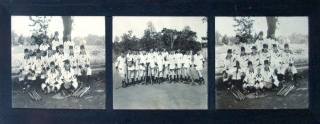 BASEBALL TEAM OF 1912: Three photographs, each 9 3/4 x 13 inches, mounted in the original dark...
