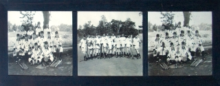 BASEBALL TEAM OF 1912: Three photographs, each 9 3/4 x 13 inches, mounted in the original dark wood three-window frame by W.F. Baker of Parker Studio of Morristown on July 19, 1912