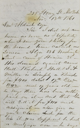 "Autograph letter signed ""J. W. Bishop"" to Daniel Aldrich, a lawyer in Warren or Washington Counties, New York. Civil War, J. W. Bishop."