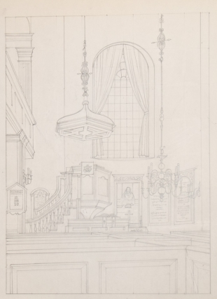 Old North Church: THE ORIGINAL DRAWING, pencil on board, for this famous 1976 lithograph (Stuckey...