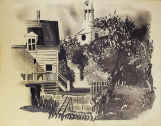 Rockport Back Yards: Original pencil drawing on smooth light card stock. Stow Wengenroth