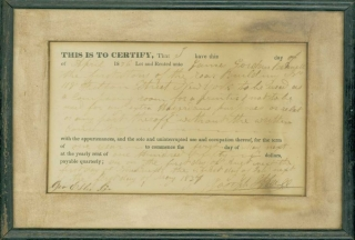 Printed certificate, completed in ink, certifying the renting of 118 Fulton Street, New York City, as a composing room, to James Gordon Bennett, founder of the New York Herald, by Joseph Heill, dated April 1836. Newspapers.