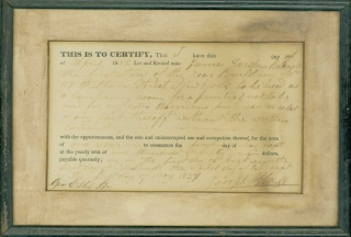 Printed certificate, completed in ink, certifying the renting of 118 Fulton Street, New York City, as a composing room, to James Gordon Bennett, founder of the New York Herald, by Joseph Heill, dated April 1836