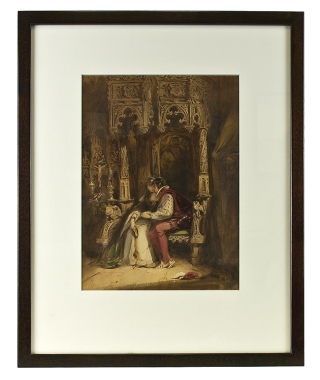 "The Betrothal. Watercolor, signed ""Lake Price"" and dated 1837"
