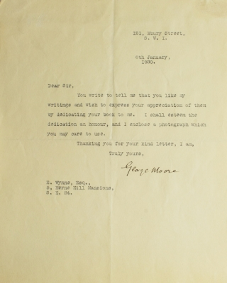 """Typed letter, signed """"George Moore,"""" one page"""