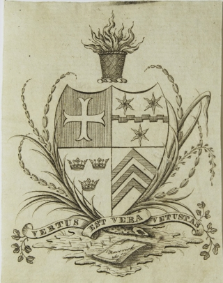 "Engraved armorial bookplate of K[illian] K. Van Rensselaer of New York, with the motto ""Vertus est vera vetustas,"" engraved by [Peter] Maverick on an open scoll, ribbon and wreath"