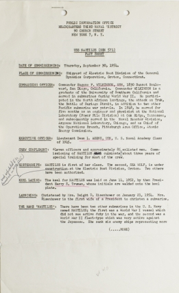 USS Nautilus: Fact Sheet issued on the occasion of her comissioning September 30, 1954. Submarines