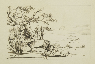 Original finely drawn sepia pen and ink drawing showing an Indian Brave signaling with a blanket, standing next to a tree with his horse nearby. Drawing.