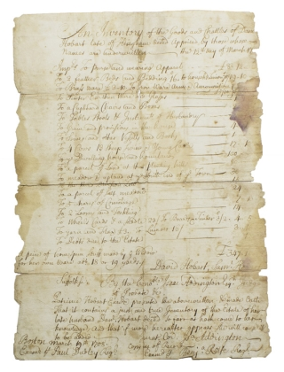Retained court recorded copy of a manuscript inventory made of the goods of the late Daniel Hobart of Hingham by David Hobart and Samuel Hobart, which was presented by Patience Hobart, the widow for probate to the Suffolk Court, Judge Isaac Addington presiding, this copy of the record examined by Benjamin Rolfe and Paul Dudley