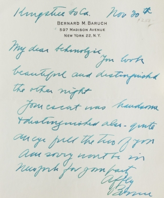 "Autograph letter signed ""Bernie,"" one page. Bernard Baruch"