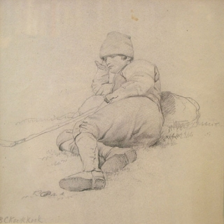 "Recumbent peasant: pencil on paper, signature at lower left ""B C Koek Koek"" in another hand...."