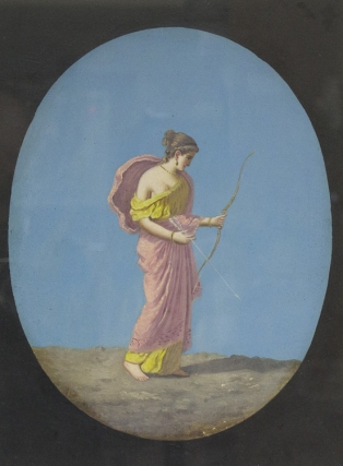 Diana: oil on board of the goddess of the chase, holding a bow and arrow; together with matching...