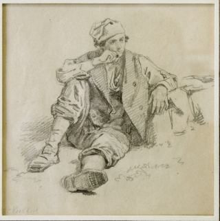"Seated Peasant: pencil on paper, signature at lower left, ""B C Koek Koek in another hand...."