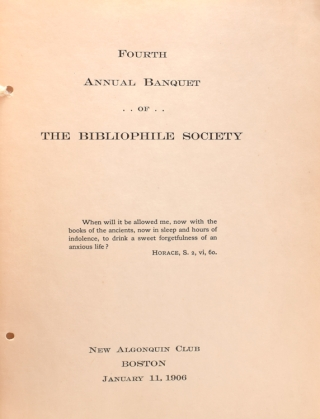 Fourth Annual Banquet of the Bibliophile Society