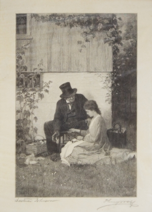 "Etching on tissue paper, signed in the plate ""E.Johnson 1879"" and by the etcher ""Henry Wolf"" and..."