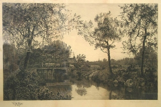 Etching: Pastoral scene with cattle crossing a bridge, with village and church spire in the background. H. James.