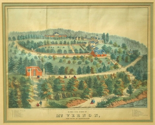 "Hand-colored lithograph: ""Birds Eye View of Mt. Vernon, The Home of Washington"". G. Bill, F."