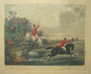 "Hand-colored engraving: ""Bachelor's Hall. Plate 2"". Foxhunting, Francis Calcroft Turner."