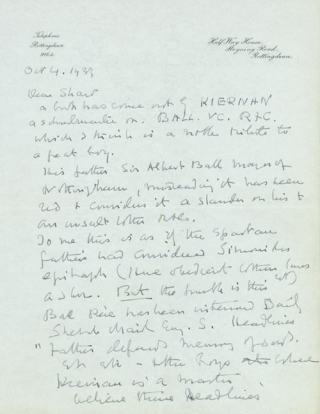 """Autograph Letter signed (""""Maurice Baring"""") to T.E. LAWRENCE"""