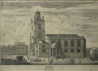 "Engraving: ""The South Prospect of the Church of St. Clements Danes - London / To the Right..."