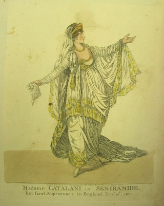 "Hand-colored engraved caricature: ""Madame Catalani in Semiramide. her first Appearance in..."