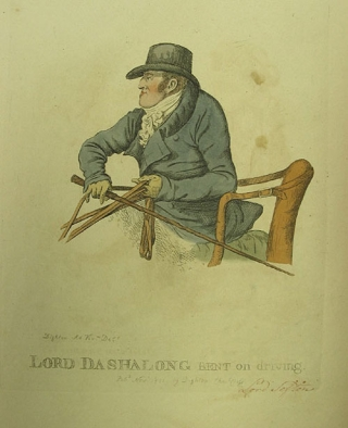 "Hand-colored engraved caricature: ""Lord Dashalong Bent on Driving"". Robert Dighton, I, British."