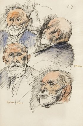 4 Head Studies of Dikran G. Kelekian. Pen and ink with watercolor on paper